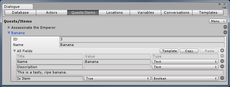 Dialogue System for Unity: Dialogue Editor Items/Quests Tab